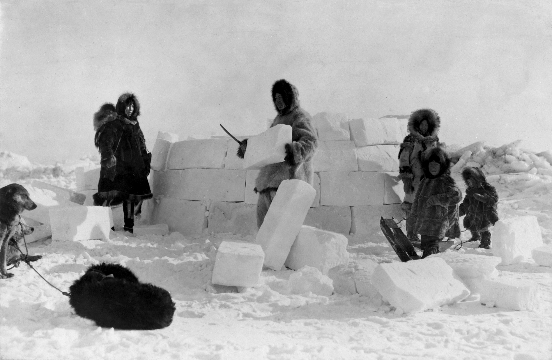 Construction of an igloo, Frank E. Kleinschmidt