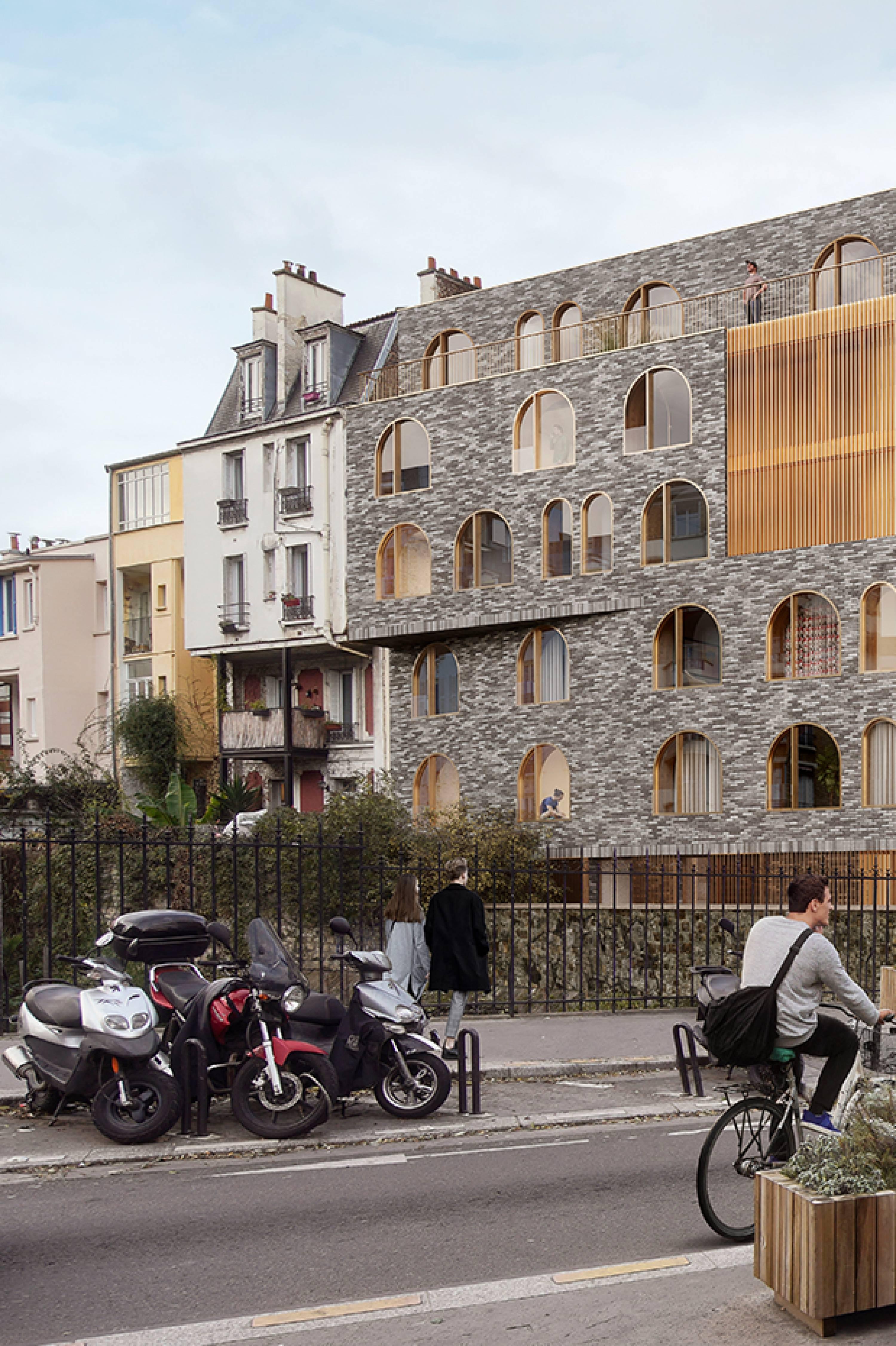 Détail façade, perspective concours Villa des Tulipes, Paris, 2020