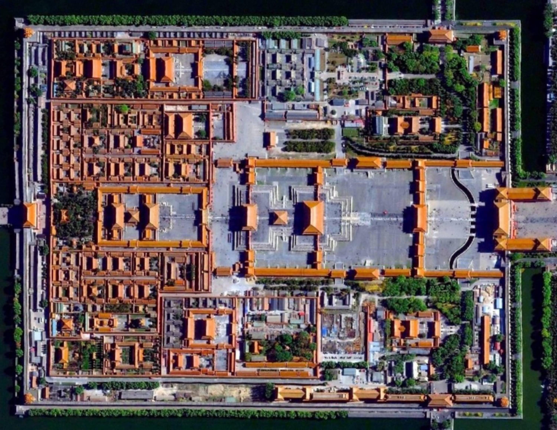 Vue aérienne de la Cité interdite, Pékin, Chine